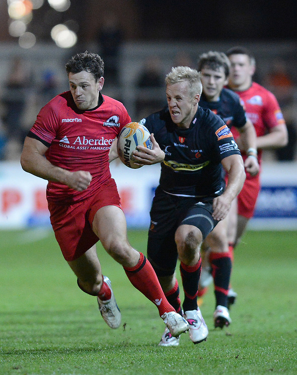 Edinburgh Rugby's Nick De Luca on the charge ..Rugby Union - RaboDirect PRO12 - Newport-Gwent Dragons v Edinburgh Rugby - Friday 28th September 2012 -  Rodney Parade - Newport....