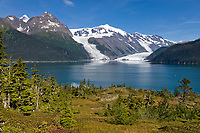 Mount Gilbert and Mount Gannet of the Chugach mountains, Cascade and Barry glaciers flow into Barry Arm, Chugach National Forest, Prince William Sound, Alaska.