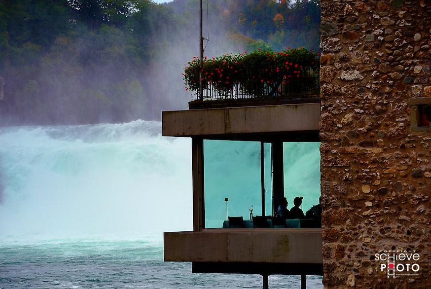 Restaurant diners have a fantastic view of Rhine Falls.