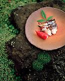JAPAN, Kyushu, grilled fish served on Karatsu Pottery, Hisago Restaurant