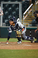 Brevard County Manatees catcher Fidel Pena (18) during a game against the Fort Myers Miracle on April 13, 2016 at Hammond Stadium in Fort Myers, Florida.  Fort Myers defeated Brevard County 3-0.  (Mike Janes/Four Seam Images)