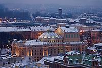 Europe/Voïvodie de Petite-Pologne/ Cracovie: Théatre de Juliusz Slowacki vu depuis le clocher de l'église Notre Dame - Vieille ville (Stare Miasto) classée Patrimoine Mondial de l'UNESCO,