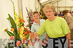 ADMIRING: Eileen Phelan, Castlecountess, and Kathleen Reidy, Castleisland, admiring some of the flower arrangemnts at Feile na mBlath in Tralee Town Park on Friday..