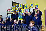 The students give Mike Sweeney as rousing send off as he retires as Principal of Scoil Naisiúnta Uaimh Bhreannain(O'Brennan National School), Kielduff.