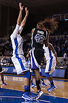 Sophomore forward, Azia Bishop, guarding against junior center, Cheyenne Parker, during the second half of the UK vs. High Point basketball game at Memorial Coliseum on Saturday, Nov. 17, 2012. Photo by Adam Chaffins | Staff