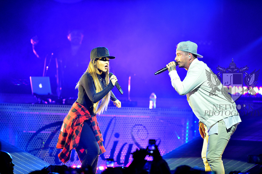 MIAMI, FL - SEPTEMBER 23: Becky G and J Balvin perform onstage during ' La Familia' tour at James L Knight Center on Wednesday September 23, 2015 in Miami, Florida. ( Photo by Johnny Louis / jlnphotography.com )