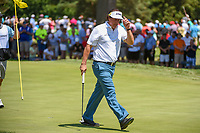 Phil Mickelson (USA) sinks his par putt on 7 during 3rd round of the World Golf Championships - Bridgestone Invitational, at the Firestone Country Club, Akron, Ohio. 8/4/2018.<br /> Picture: Golffile | Ken Murray<br /> <br /> <br /> All photo usage must carry mandatory copyright credit (© Golffile | Ken Murray)