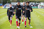 Jordan Chappell (left), Nathan Arnold, (2nd left), Ollie Palmer (3rd left) and Joshua Gowling (right) of Grimsby Town warm up ahead of the Vanamara Conference Play Off Semi Final First Leg match between Eastleigh and Grimsby Town at The Silverlake Stadium, Eastleigh<br /> Picture by David Horn/eXtreme aperture photography +44 7545 970036<br /> 30/04/2015