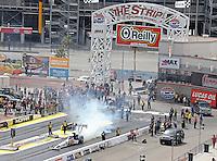 Apr. 7, 2013; Las Vegas, NV, USA: NHRA top fuel dragster driver Brandon Bernstein during the Summitracing.com Nationals at the Strip at Las Vegas Motor Speedway. Mandatory Credit: Mark J. Rebilas-