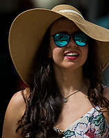 HALLANDALE BEACH, FL - JANUARY 27: A woman wears a sun hat on Pegasus World Cup Invitational Day at Gulfstream Park Race Track on January 27, 2018 in Hallandale Beach, Florida. (Photo by Scott Serio/Eclipse Sportswire/Getty Images)