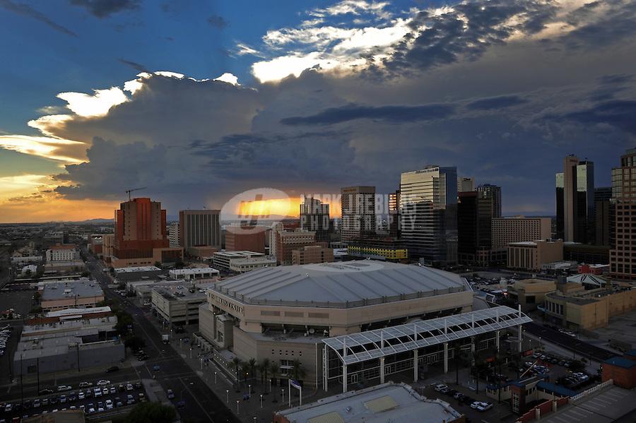 Phoenix Arizona downtown skyscraper high-rise stadium arena basketball Suns US Airways Center sunset monsoon rain city CityScape