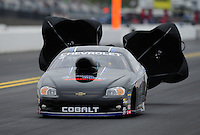 Sept. 17, 2011; Concord, NC, USA: NHRA pro stock driver Erica Enders during qualifying for the O'Reilly Auto Parts Nationals at zMax Dragway. Mandatory Credit: Mark J. Rebilas-