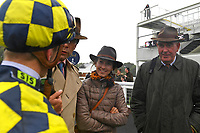 Jockey David Probert gives a debrief to trainer Henry Candy right after winning The Brunton Publications Pembroke Handicap onboard Alfred Boucher during Horse Racing at Salisbury Racecourse on 14th August 2019