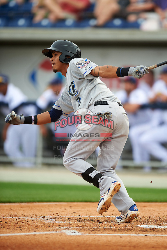 Biloxi Shuckers shortstop Orlando Arcia (2) at bat during the second game of a double header against the Pensacola Blue Wahoos on April 26, 2015 at Pensacola Bayfront Stadium in Pensacola, Florida.  Pensacola defeated Biloxi 2-1.  (Mike Janes/Four Seam Images)