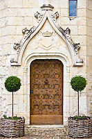 Ornate doorway at Renaissance 15th Century Chateau du Rivau, Chateaux of the Loire, Loire Valley, France