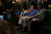Heading to Flagstaff, Arizona.USA.August 8, 2004..The Democratic presidentual nominee Sen. John Kerry meets with members of the American Indian community in the train during the campaign tour across America from coast to coast. .