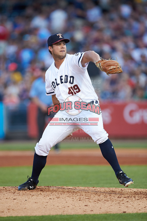 Toledo Mud Hens relief pitcher at Fifth Third Field on June 16, 2018 in Toledo, Ohio. The Mud Hens defeated the Bats 7-4.  (Brian Westerholt/Four Seam Images)
