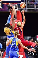 Washington, DC - July 13, 2018: Washington Mystics guard Elena Delle Donne (11) goes up strong to the basket against Chicago Sky forward Cheyenne Parker (32) during game between the Washington Mystics and Chicago Sky at the Capital One Arena in Washington, DC. The Mystics defeat the Sky 88-72 (Photo by Phil Peters/Media Images International)