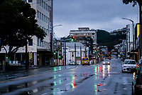 Rush hour, Taranaki St. The city centre during quarantine lockdown for COVID19 pandemic.  Wellington, New Zealand on Friday, 27 March 2020. Photo: Dave Lintott / lintottphoto.co.nz