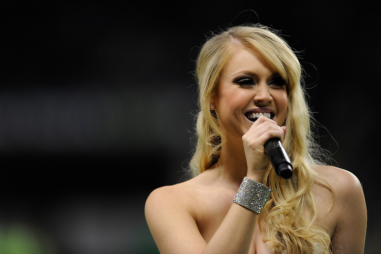 Camilla Kerslake, who is the girlfriend of Harlequins' captain Chris Robshaw, entertains fans before the Aviva Premiership match between Harlequins and Saracens at Twickenham on Tuesday 27 December 2011 (Photo by Rob Munro)