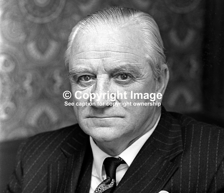 Fred Tughan, solicitor, Belfast, N Ireland, chairman, Unionist Party of N Ireland, April 1974, 197404190630a<br />