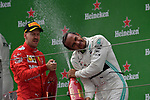 14.04.2019, Shanghai Audi International Circuit, Shanghai, 2019 FORMULA 1 HEINEKEN CHINESE GRAND PRIX<br /> im Bild<br />Sieger Lewis Hamilton (GB#44), Mercedes-AMG Petronas Motorsport, 3.Platz f&uuml;r Sebastian Vettel (GER#5), Scuderia Ferrari<br /> <br /><br /> <br /> Foto &copy; nordphoto / Bratic