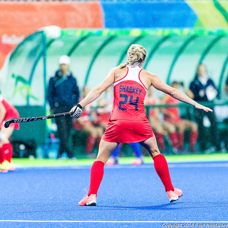Kathleen Sharkey #24 of United States defends a pass during USA vs Japan in a Pool B game at the Rio 2016 Olympics at the Olympic Hockey Centre in Rio de Janeiro, Brazil.