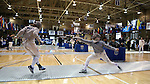 12 February 2017: Duke's Jennifer Ling (right) and UNC's Diana Philpot (left) during Saber. The Duke University Blue Devils hosted the University of North Carolina Tar Heels at Card Gym in Durham, North Carolina in a 2017 College Women's Fencing match. Duke won the dual match 14-13 overall and 7-2 in Epee. UNC won Foil 6-3 and Saber 5-4.