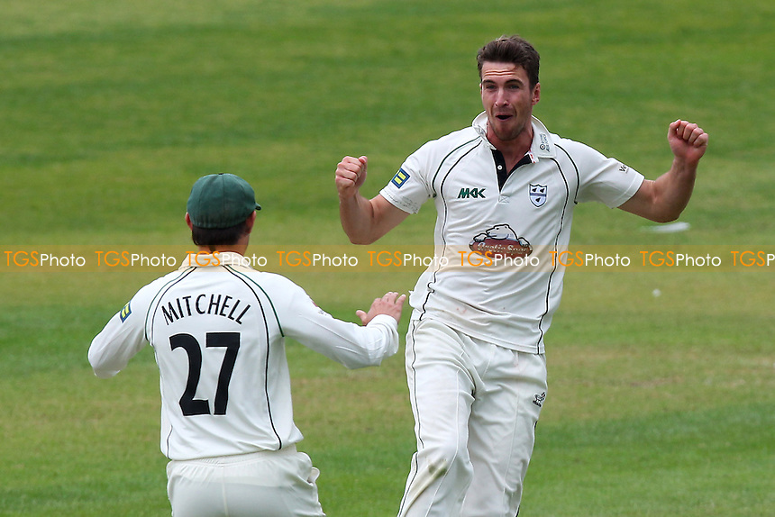 Delight for Jack Shantry of Worcestershire as he claims the wicket of Jaik Mickleburgh - Worcestershire CCC vs Essex CCC - LV County Championship Division Two Cricket at New Road, Worcester - 20/05/14 - MANDATORY CREDIT: Gavin Ellis/TGSPHOTO - Self billing applies where appropriate - 0845 094 6026 - contact@tgsphoto.co.uk - NO UNPAID USE