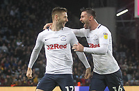 Preston North End's Paul Gallagher celebrates scoring his sides second goal <br /> <br /> Photographer Mick Walker/CameraSport<br /> <br /> The EFL Sky Bet Championship - Aston Villa v Preston North End - Tuesday 2nd October 2018 - Villa Park - Birmingham<br /> <br /> World Copyright &copy; 2018 CameraSport. All rights reserved. 43 Linden Ave. Countesthorpe. Leicester. England. LE8 5PG - Tel: +44 (0) 116 277 4147 - admin@camerasport.com - www.camerasport.com