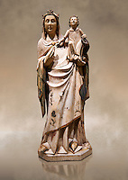 Gothic statue of the Virgin Mary and child by an anonymous Catalan artist. Carved alabaster with remains of polychrome and gold leaf. Circa 1330-1340. 112 x 42.5 x 22.7 cm. From the parish church of Navata (Alt Empordà).. National Museum of Catalan Art, inv no: 004356-000