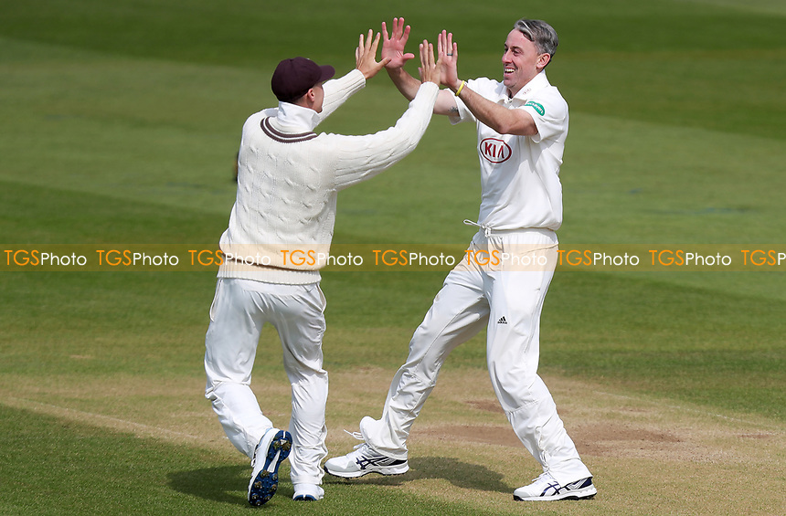 Rikki Clarke of Surrey celebrates taking the wicket of Dan Lawrence during Surrey CCC vs Essex CCC, Specsavers County Championship Division 1 Cricket at the Kia Oval on 13th April 2019