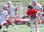 Palos Verdes, CA 03/26/16 - Ryan Crawford (San Clemente #18) in action during the CIF Boys Lacrosse game between San Clemente Tritons and the Palos Verdes Seakings at Palos Verdes High School.  Palos Verdes defeated San Clemente 11-6