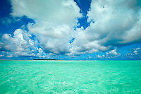 A view of Maina Island from Honeymoon Island (sandbar), Aitutaki Lagoon, Aitutaki Atoll, Cook Islands.