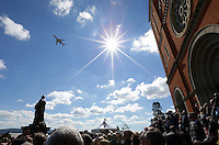 LATROBE, PA - OCTOBER 4: Arnold Palmer's Cessna 10 aircraft is flown over Saint Vincent Basilica during a Celebration of Arnold Palmer at Saint Vincent College on October 4, 2016 in Latrobe, Pa. (Photo by Hunter Martin/Getty Images) *** Local Caption ***