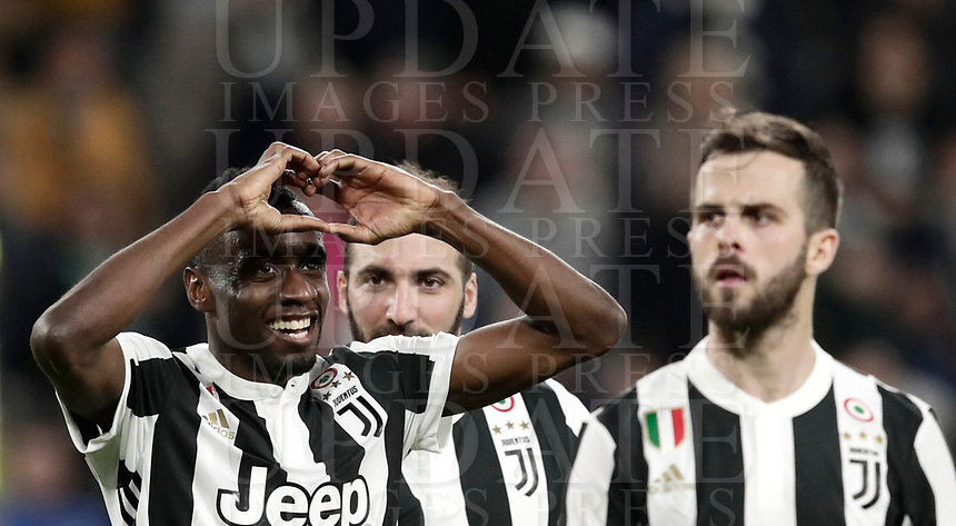 Calcio, Serie A: Juventus - Atalanta, Torino, Allianz Stadium, 14 marzo 2018. <br /> Juventus' Blaise Matuidi (l) celebrates after scoring with his teammate Gonzalo Higuain (c) and Miralem Pjanic (r) during the Italian Serie A football match between Juventus and Atalanta at Torino's Allianz stadium, March 14, 2018.<br /> UPDATE IMAGES PRESS/Isabella Bonotto
