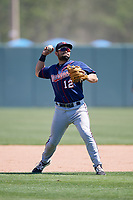 Minnesota Twins Alex Robles (12) during a Minor League Spring Training game against the Tampa Bay Rays on March 15, 2018 at CenturyLink Sports Complex in Fort Myers, Florida.  (Mike Janes/Four Seam Images)