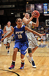 SIOUX FALLS, SD - MARCH 11:  Megan Waytashek #24 of South Dakota State gets fouled on a fast break by Haley Siebert #10 of IPFW during their semifinal game at the 2013 Summit League Basketball Championships Monday at the SIoux Falls Arena.  (Photo by Dick Carlson/Inertia)