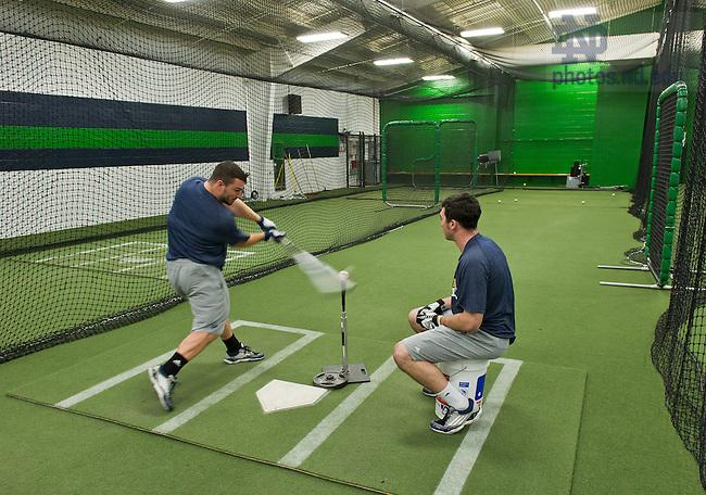 Feb. 11, 2013; Eck Baseball indoor practice facility..Photo by Matt Cashore/University of Notre Dame