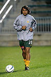 27 March 2004: Carlos Ruiz during pregame warmups. Los Angeles Galaxy defeated the Kansas City Wizards 1-0 at SAS Stadium in Cary, NC in the final preseason game for both Major League Soccer teams as part of the Cary Pro Kickoff Invitational tournament..