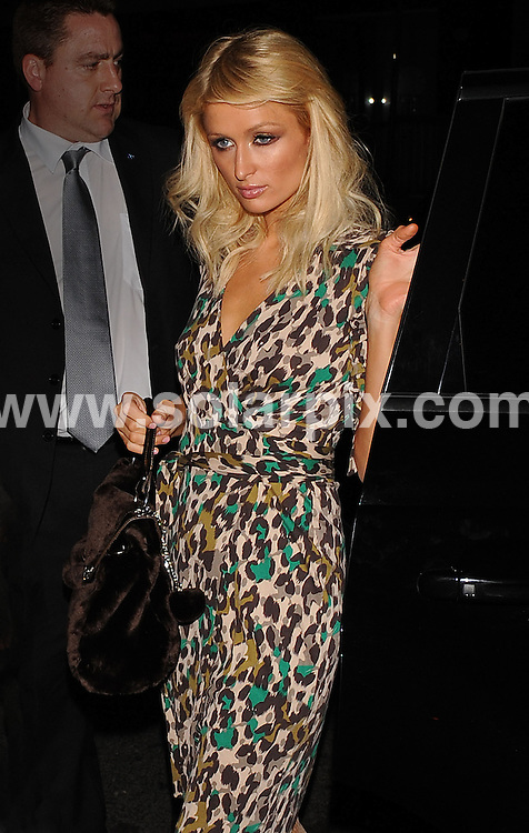 **ALL ROUND PICTURES FROM SOLARPIX.COM**.**WORLDWIDE SYNDICATION RIGHTS**.Paris Hilton out on the town in London..JOB REF:    7540   SSD-ATM     DATE: 07.10.08.**MUST CREDIT SOLARPIX.COM OR DOUBLE FEE WILL BE CHARGED* *UNDER NO CIRCUMSTANCES IS THIS IMAGE TO BE REPRODUCED FOR ANY ONLINE EDITION WITHOUT PRIOR PERMISSION*