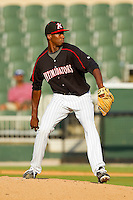 Starting pitcher Dexter Carter #35 of the Kannapolis Intimidators in action against the Greensboro Grasshoppers at Fieldcrest Cannon Stadium on June 19, 2011 in Kannapolis, North Carolina.  The Intimidators defeated the Grasshoppers 9-7.   (Brian Westerholt / Four Seam Images)