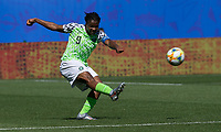 GRENOBLE, FRANCE - JUNE 12: Desire Oparanozie #9 of the Nigerian National Team passes the ball during a game between Korea Republic and Nigeria at Stade des Alpes on June 12, 2019 in Grenoble, France.