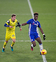Ike Ugbo of Chelsea holds off Joe Rothwell of Oxford United during the The Checkatrade Trophy match between Chelsea U23 and Oxford United at Stamford Bridge, London, England on 8 November 2016. Photo by Andy Rowland.