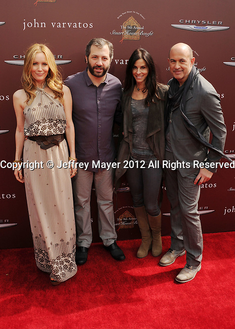 LOS ANGELES, CA - MARCH 11: Leslie Mann, Judd Apatow, Joyce Varvatos and John Varvatos arrive at The 9th Annual John Varvatos Stuart House Benefit at John Varvatos Los Angeles on March 11, 2012 in Los Angeles, California.