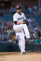 Charlotte Knights starting pitcher Ross Detwiler (9) in action against the Rochester Red Wings at BB&T BallPark on May 14, 2019 in Charlotte, North Carolina. The Knights defeated the Red Wings 13-7. (Brian Westerholt/Four Seam Images)