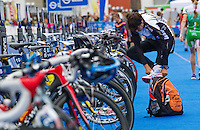 17 JUL 2011 - HAMBURG, GER - Kathrin Muller (GER) prepares in transition for the start of the women's Hamburg round of triathlon's ITU World Championship Series (PHOTO (C) NIGEL FARROW)