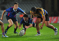 Action from the Auckland Secondary Schools Unitec 1st XV 1B rugby union KFC curtainraiser match between Takapuna Grammar School and McLean's College at Eden Park, Auckland, New Zealand on Friday, 10 April 2015. Photo: Dave Lintott / lintottphoto.co.nz