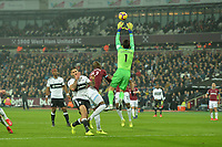 lukasz Fabianski of West Ham United jumps and catches a cross during West Ham United vs Fulham, Premier League Football at The London Stadium on 22nd February 2019