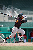 GCL Orioles right fielder Davis Tavarez (3) follows through on a swing during a game against the GCL Red Sox on August 9, 2018 at JetBlue Park in Fort Myers, Florida.  GCL Red Sox defeated GCL Orioles 10-4.  (Mike Janes/Four Seam Images)